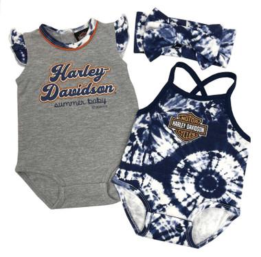 Harley-Davidson Baby Girls' Tie-Dye 2-Pack Newborn Creeper Set w/ Headband - Wisconsin Harley-Davidson
