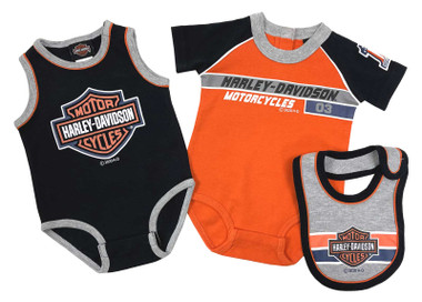 Harley-Davidson Baby Boys' Racer 2-Pack Newborn Creeper Set w/Bib - Orange/Black - Wisconsin Harley-Davidson