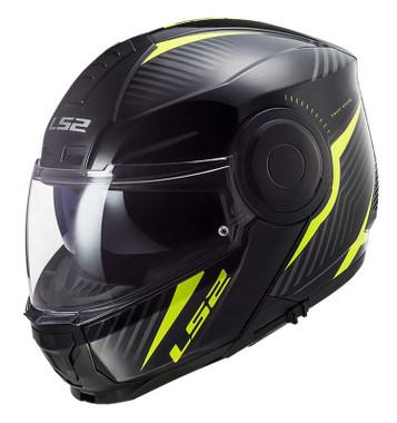 LS2 Helmets Horizon Skid Modular Shield Motorcycle Helmet- Black & Hi-Vis Yellow - Wisconsin Harley-Davidson
