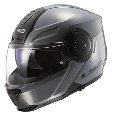 LS2 Helmets Horizon Solid Modular Sun Shield Motorcycle Helmet - Gloss Gray - Wisconsin Harley-Davidson