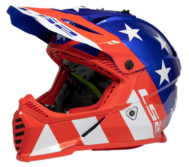 LS2 Helmets Gate Youth Stripes Full Face MX Motorcycle Helmet - Red/White/Blue - Wisconsin Harley-Davidson