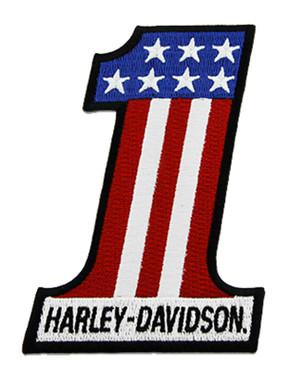 Harley-Davidson 3 inch Embroidered RWB #1 Logo Small Emblem Sew-On Patch - Wisconsin Harley-Davidson