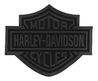 Harley-Davidson 8 inch Embroidered Black Bar & Shield Logo Emblem Sew-On Patch - Wisconsin Harley-Davidson