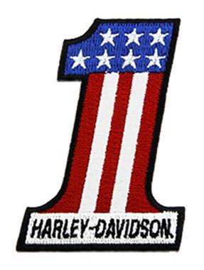 Harley-Davidson 2 inch Embroidered RWB #1 Logo X-Small Emblem Sew-On Patch - Wisconsin Harley-Davidson