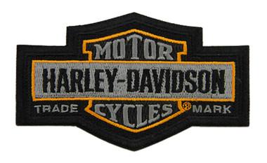 Harley-Davidson 4.5 in. Embroidered Trademark Bar & Shield Emblem Patch - Gray - Wisconsin Harley-Davidson
