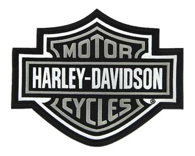 Harley-Davidson 9.25 inch Embroidered Gray Bar & Shield Logo Emblem Sew-On Patch - Wisconsin Harley-Davidson