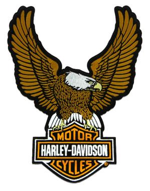 Harley-Davidson 10.25 in Embroidery Brown Eagle Bar & Shield Emblem Sew-On Patch - Wisconsin Harley-Davidson
