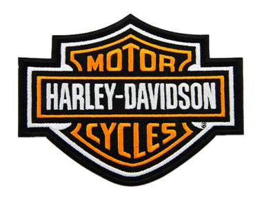 Harley-Davidson 5.6 inch Embroidered Orange Bar & Shield Logo Emblem Patch - Wisconsin Harley-Davidson