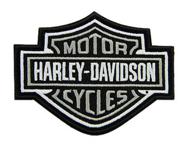 Harley-Davidson 4 inch Embroidered Gray Bar & Shield Logo Emblem Sew-On Patch - Wisconsin Harley-Davidson