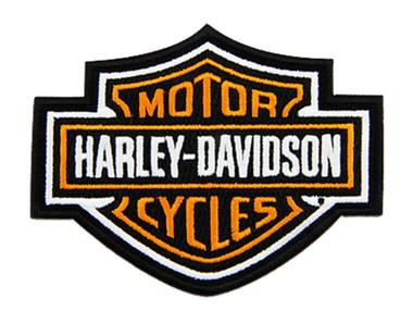 Harley-Davidson 4 inch Embroidered Orange Bar & Shield Logo Emblem Sew-On Patch - Wisconsin Harley-Davidson