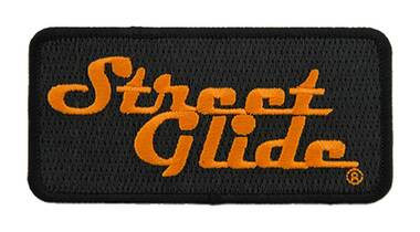 Harley-Davidson 4 in Embroidered Street Glide Emblem Sew-On Patch - Black/Orange - Wisconsin Harley-Davidson