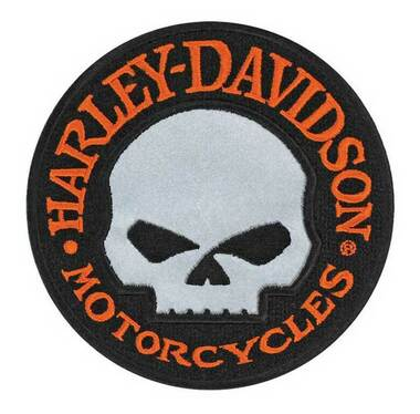 Harley-Davidson 4 inch Willie G Skull Reflective Embroidered Emblem Sew-On Patch - Wisconsin Harley-Davidson