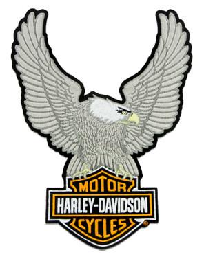 Harley-Davidson 10.25in Embroidery Silver Eagle Bar & Shield Emblem Sew-On Patch - Wisconsin Harley-Davidson