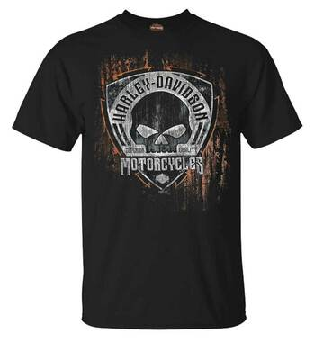 Harley-Davidson Men's Corrosion Skull Short Sleeve Crew-Neck T-Shirt - Black - Wisconsin Harley-Davidson