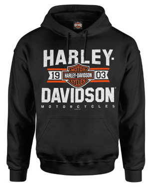 Harley-Davidson Men's Varsity B&S Logo Pullover Cotton-Blend Hoodie, Black - Wisconsin Harley-Davidson