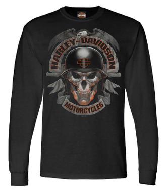 Harley-Davidson Men's Ghoulish Biker Skull Long Sleeve Crew-Neck Shirt - Black - Wisconsin Harley-Davidson