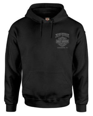 Harley-Davidson Men's Ghoulish Biker Skull Pullover Cotton-Blend Hoodie, Black - Wisconsin Harley-Davidson