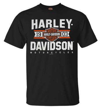 Harley-Davidson Men's Varsity B&S Short Sleeve Crew-Neck T-Shirt - Black - Wisconsin Harley-Davidson