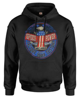 Harley-Davidson Men's Rebel #1 RWB Logo Pullover Cotton-Blend Hoodie, Black - Wisconsin Harley-Davidson