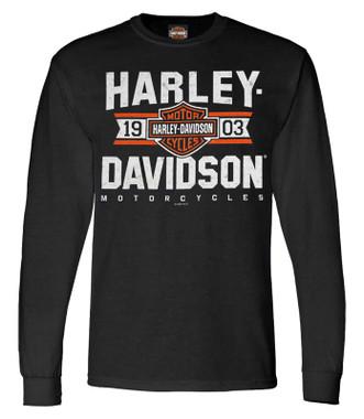 Harley-Davidson Men's Varsity B&S Logo Long Sleeve Crew-Neck Shirt - Black - Wisconsin Harley-Davidson