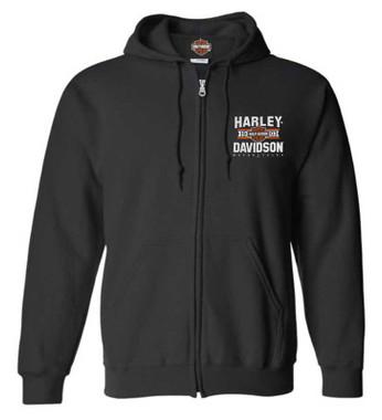 Harley-Davidson Men's Varsity B&S Logo Zip-Up Cotton-Blend Hoodie, Black - Wisconsin Harley-Davidson