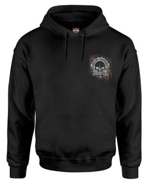 Harley-Davidson Men's Corrosion Willie G Skull Pullover Poly-Blend Hoodie, Black - Wisconsin Harley-Davidson