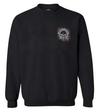 Harley-Davidson Men's Corrosion Willie G Skull Pullover Fleece Sweatshirt, Black - Wisconsin Harley-Davidson