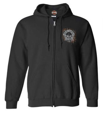 Harley-Davidson Men's Corrosion Willie G Skull Zip-Up Cotton-Blend Hoodie, Black - Wisconsin Harley-Davidson