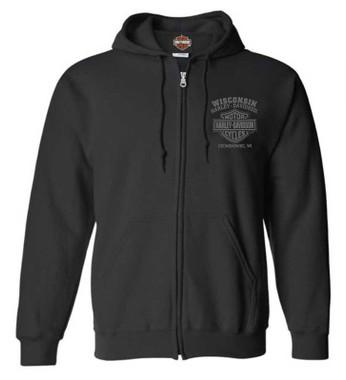 Harley-Davidson Men's Ghoulish Biker Skull Zip-Up Cotton-Blend Hoodie, Black - Wisconsin Harley-Davidson