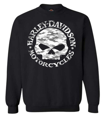 Harley-Davidson Men's Camo Willie G Skull Pullover Fleece Sweatshirt, Black - Wisconsin Harley-Davidson