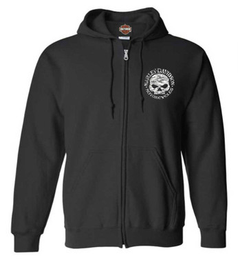 Harley-Davidson Men's Camo Willie G Skull Zip-Up Poly-Blend Hoodie - Black - Wisconsin Harley-Davidson