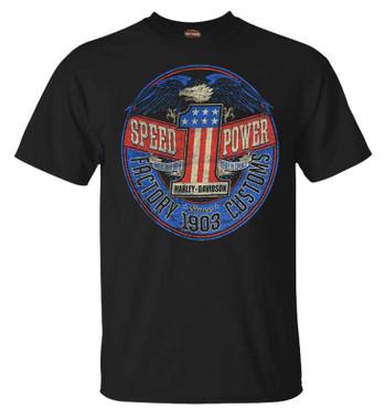 Harley-Davidson Men's Rebel #1 RWB Short Sleeve Crew-Neck T-Shirt - Black - Wisconsin Harley-Davidson