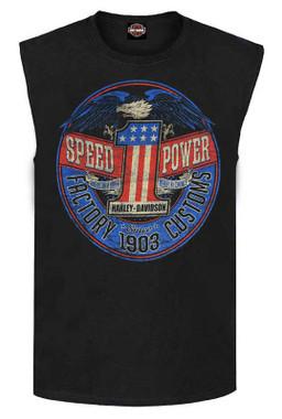 Harley-Davidson Men's Rebel #1 RWB Logo Sleeveless Cotton Muscle Shirt, Black - Wisconsin Harley-Davidson
