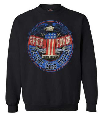Harley-Davidson Men's Rebel #1 RWB Logo Pullover Fleece Sweatshirt, Black - Wisconsin Harley-Davidson