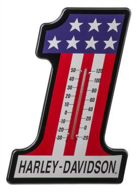 Harley-Davidson #1 RWB Racing Custom Shaped Logo Durable Metal Thermometer - Wisconsin Harley-Davidson