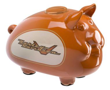 Harley-Davidson Ceramic 1990s Tank Graphic Medium Size Hog Bank - Gloss Orange - Wisconsin Harley-Davidson