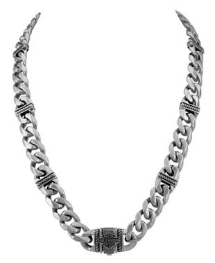 Harley-Davidson Men's Bar & Shield Curb Link Stainless Steel Metal Necklace - Wisconsin Harley-Davidson