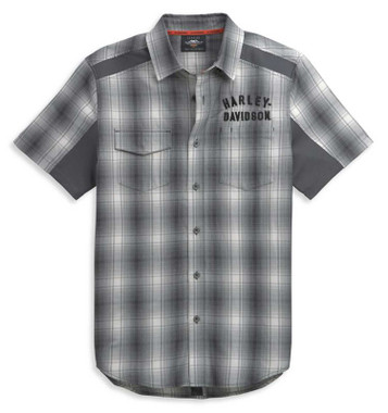 Harley-Davidson Men's Vented Performance Short Sleeve Plaid Shirt 96426-21VM - Wisconsin Harley-Davidson