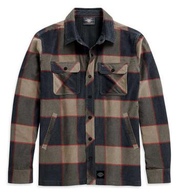 Harley-Davidson Men's Lined Printed Corduroy Plaid Shirt Jacket 96048-21VM - Wisconsin Harley-Davidson