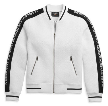 Harley-Davidson Women's Sleeve Logo Active Causal Jacket - White 96486-21VW - Wisconsin Harley-Davidson