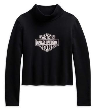Harley-Davidson Women's Bar & Shield Logo Turtleneck Pullover, Black 96010-21VW - Wisconsin Harley-Davidson
