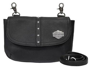 Harley-Davidson Women's B&S Filigree Pebbled Leather Flap Clip Bag - Black - Wisconsin Harley-Davidson