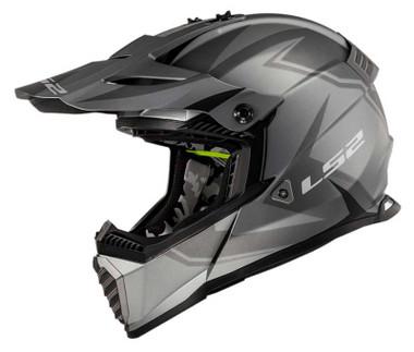 LS2 Helmets Gate TwoFace Full Face MX Motorcycle Helmet, Matte Gray & Black - Wisconsin Harley-Davidson
