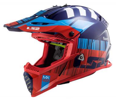 LS2 Helmets Gate XCODE Full Face MX Motorcycle Helmet, Gloss Red & Blue - Wisconsin Harley-Davidson