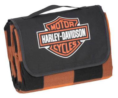 Harley-Davidson Bar & Shield Folding Plaid Picnic Blanket Tote - Black/Orange - Wisconsin Harley-Davidson