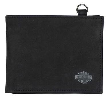 Harley-Davidson Men's B&S Bi-Fold Leather Wallet w/RFID Protection - Black - Wisconsin Harley-Davidson