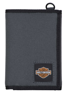 Harley-Davidson Men's Full Speed Tri-Fold Polyester RFID Wallet - Gray - Wisconsin Harley-Davidson