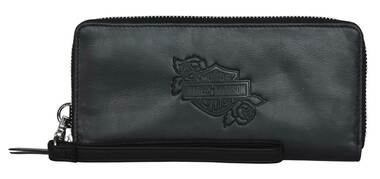 Harley-Davidson Women's Rockin' Roses Large Zip Wallet w/ Detachable Wristlet - Wisconsin Harley-Davidson