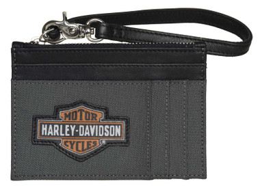 Harley-Davidson Women's Oil Can B&S Card Case Zip Polyester & Leather Wallet - Wisconsin Harley-Davidson