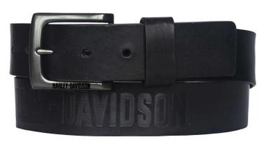 Harley-Davidson Men's Vintage Race Genuine Black Leather Belt - Antique Nickel - Wisconsin Harley-Davidson